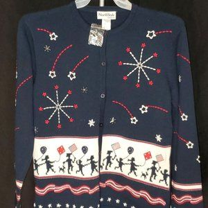North Style Ugly Cardigan Sweater Patriotic Stars